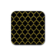 Tile1 Black Marble & Yellow Leather (r) Rubber Square Coaster (4 Pack)