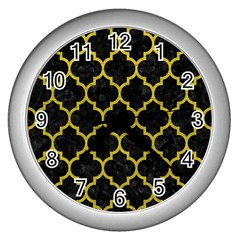Tile1 Black Marble & Yellow Leather (r) Wall Clocks (silver)