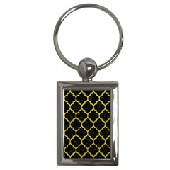 Tile1 Black Marble & Yellow Leather (r) Key Chains (rectangle)