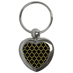 Tile1 Black Marble & Yellow Leather (r) Key Chains (heart)
