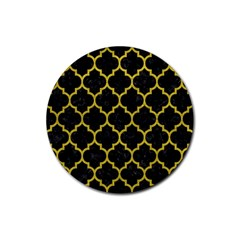 Tile1 Black Marble & Yellow Leather (r) Rubber Coaster (round)