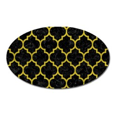 Tile1 Black Marble & Yellow Leather (r) Oval Magnet