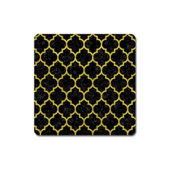 Tile1 Black Marble & Yellow Leather (r) Square Magnet