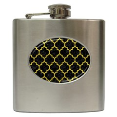 Tile1 Black Marble & Yellow Leather (r) Hip Flask (6 Oz)