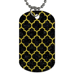 Tile1 Black Marble & Yellow Leather (r) Dog Tag (two Sides)