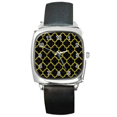Tile1 Black Marble & Yellow Leather (r) Square Metal Watch
