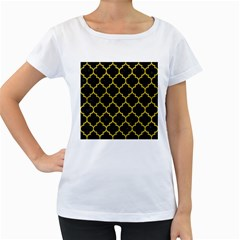 Tile1 Black Marble & Yellow Leather (r) Women s Loose Fit T Shirt (white)