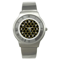 Tile1 Black Marble & Yellow Leather (r) Stainless Steel Watch