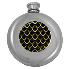 Tile1 Black Marble & Yellow Leather (r) Round Hip Flask (5 Oz)