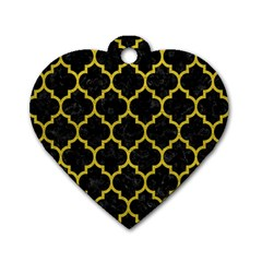 Tile1 Black Marble & Yellow Leather (r) Dog Tag Heart (one Side)