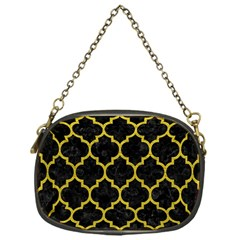 Tile1 Black Marble & Yellow Leather (r) Chain Purses (one Side)