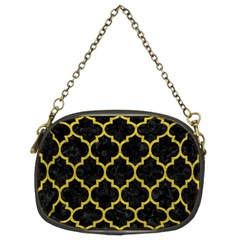 Tile1 Black Marble & Yellow Leather (r) Chain Purses (two Sides)