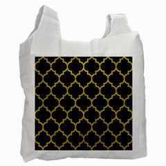 Tile1 Black Marble & Yellow Leather (r) Recycle Bag (two Side)