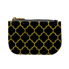 Tile1 Black Marble & Yellow Leather (r) Mini Coin Purses