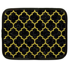 Tile1 Black Marble & Yellow Leather (r) Netbook Case (xxl)