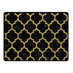 Tile1 Black Marble & Yellow Leather (r) Fleece Blanket (small)