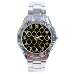 Tile1 Black Marble & Yellow Leather (r) Stainless Steel Analogue Watch