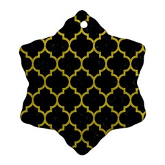 Tile1 Black Marble & Yellow Leather (r) Ornament (snowflake)