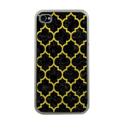 Tile1 Black Marble & Yellow Leather (r) Apple Iphone 4 Case (clear)