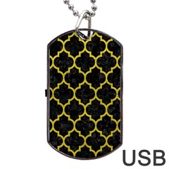 Tile1 Black Marble & Yellow Leather (r) Dog Tag Usb Flash (two Sides)
