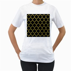 Tile1 Black Marble & Yellow Leather (r) Women s T Shirt (white)