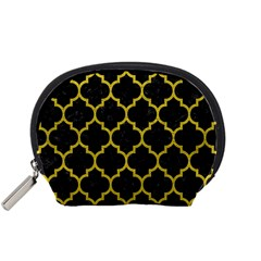 Tile1 Black Marble & Yellow Leather (r) Accessory Pouches (small)