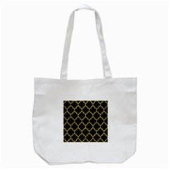 Tile1 Black Marble & Yellow Leather (r) Tote Bag (white)