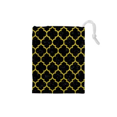 Tile1 Black Marble & Yellow Leather (r) Drawstring Pouches (small)