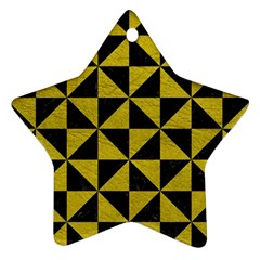 Triangle1 Black Marble & Yellow Leather Ornament (star)