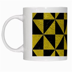 Triangle1 Black Marble & Yellow Leather White Mugs