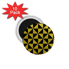 Triangle1 Black Marble & Yellow Leather 1 75  Magnets (10 Pack)