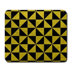 Triangle1 Black Marble & Yellow Leather Large Mousepads