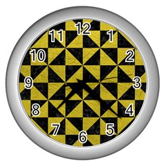 Triangle1 Black Marble & Yellow Leather Wall Clocks (silver)