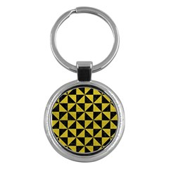 Triangle1 Black Marble & Yellow Leather Key Chains (round)