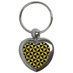 Triangle1 Black Marble & Yellow Leather Key Chains (heart)
