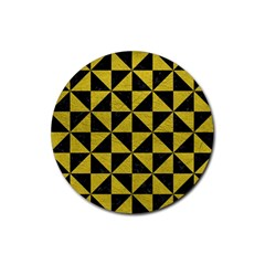 Triangle1 Black Marble & Yellow Leather Rubber Coaster (round)