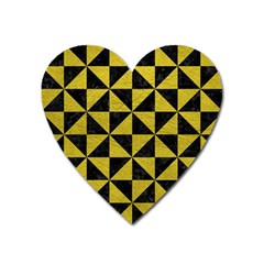 Triangle1 Black Marble & Yellow Leather Heart Magnet