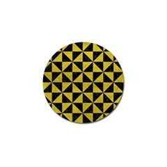 Triangle1 Black Marble & Yellow Leather Golf Ball Marker