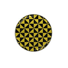 Triangle1 Black Marble & Yellow Leather Hat Clip Ball Marker (10 Pack)