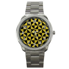 Triangle1 Black Marble & Yellow Leather Sport Metal Watch