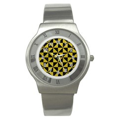 Triangle1 Black Marble & Yellow Leather Stainless Steel Watch
