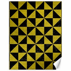 Triangle1 Black Marble & Yellow Leather Canvas 12  X 16