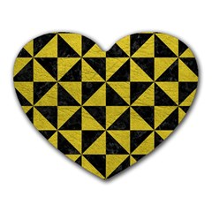 Triangle1 Black Marble & Yellow Leather Heart Mousepads