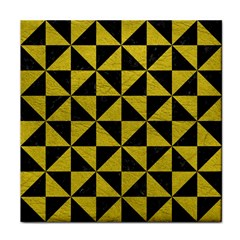 Triangle1 Black Marble & Yellow Leather Face Towel