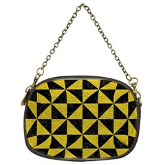 Triangle1 Black Marble & Yellow Leather Chain Purses (two Sides)