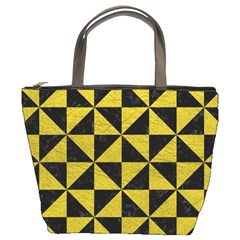 Triangle1 Black Marble & Yellow Leather Bucket Bags