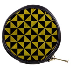 Triangle1 Black Marble & Yellow Leather Mini Makeup Bags