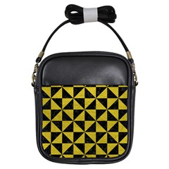 Triangle1 Black Marble & Yellow Leather Girls Sling Bags