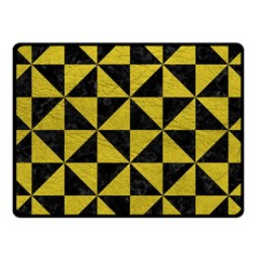 Triangle1 Black Marble & Yellow Leather Fleece Blanket (small)