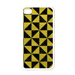Triangle1 Black Marble & Yellow Leather Apple Iphone 4 Case (white)